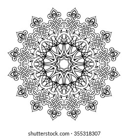black hand drawn Scythian mandala, vector illustration