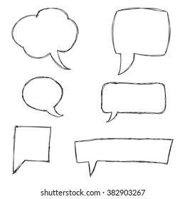Black Hand Drawn Speech Bubble Skech Set Isolated on White Background. Vector Illustration