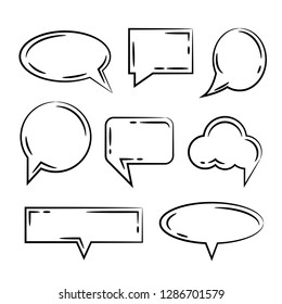 black hand drawn speech bubbles