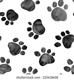 Black hand drawn watercolor illustration with animal footprints