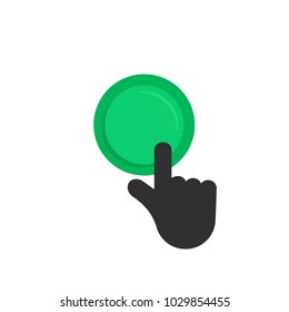 black hand pushing on green button. concept of new fast start up symbol or forefinger hit or tap on key for beginning process. flat style simple launch logo graphic design isolated on white background