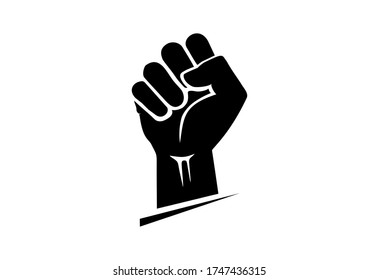 Black hand raised in a clenched fist. Freedom sign and protest symbol - civil rights movement, black lives matter icon.