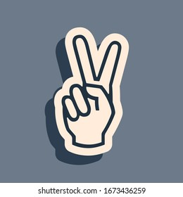 Black Hand showing two finger icon isolated on grey background. Victory hand sign. Long shadow style. Vector Illustration