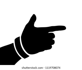 Black Hand Silhouette, Form a Gun or Pistol, Vector Illustration