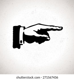 Black hand silhouette with pointing finger. Vector direction sign