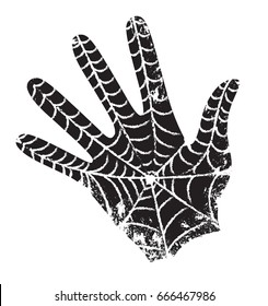 Black hand with the web. The spider spun a web on the palm of man. Superhero has left its mark.  Hand vector drawing. Stylized print on a t-shirt. Black and white clipart. Sketch.