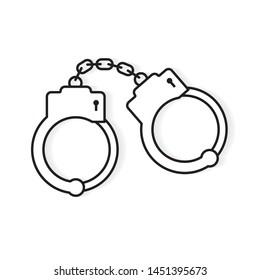 black handcuffs icon- vector illustration