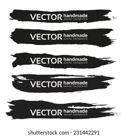 Black handdrawn realistic long strokes banners 2