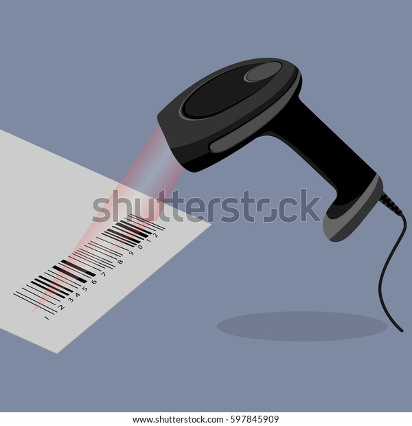 Black Handheld Barcode Scanner Scanning Bar Stock Vector (Royalty