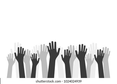 black hands up like volunteer crowd. concept of money or food global donation and healing or union mercy. flat simple style trend teamwork logo graphic minimal design isolated on white background
