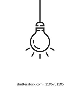 black hanging thin line bulb. flat lineart style trend modern minimal tip logotype graphic art design isolated on white background. concept of contour simplify label lightbulb like sudden decision