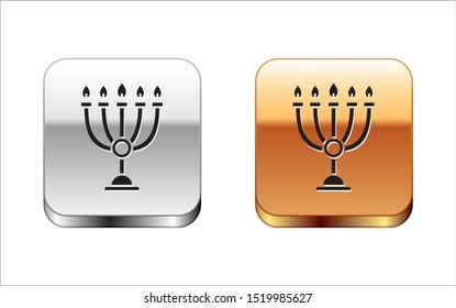 Black Hanukkah menorah icon isolated on white background. Hanukkah traditional symbol. Holiday religion, jewish festival of Lights. Silver-gold square button. Vector Illustration