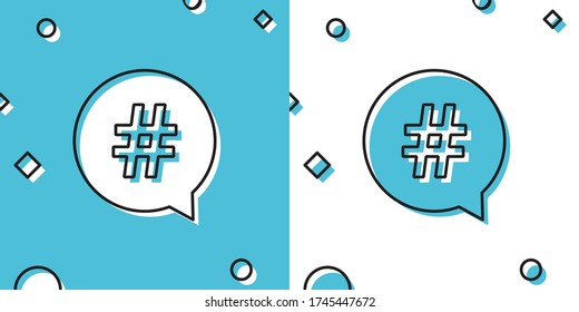 Black Hashtag in circle icon isolated on blue and white background. Social media symbol, concept of number sign, social media, micro blogging pr popularity. Random dynamic shapes. Vector Illustration