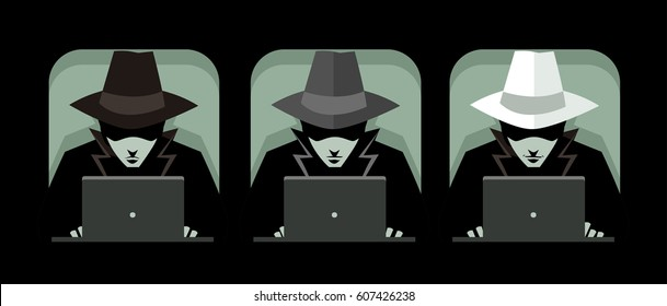 black hat grey hat and white hat hackers