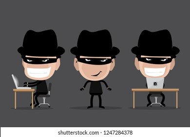 Black hat hacker in three action, malware virus, cartoon character. Flat Vector Illustration