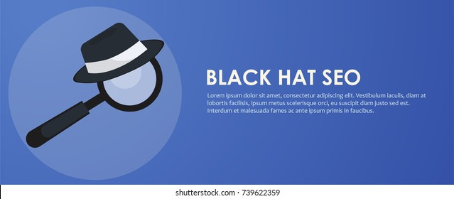Black hat seo banner. Magnifier, and other search engine optimization tools and tactics. Vector flat illustration