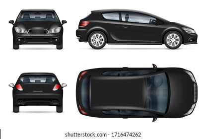 Black hatchback car vector mockup on white for vehicle branding, corporate identity. View from side, front, back, and top. All elements in the groups on separate layers for easy editing and recolor.