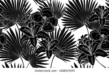 Black hawaiian flowers and palm leaves pattern. Vector illustration. Botanical seamless wallpaper. Digital nature art. Cartoon style sketch. White background.