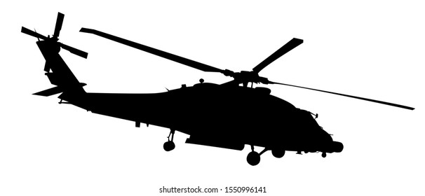 Black Hawk style helicopter silhouette in black isolated on white background, vector graphic