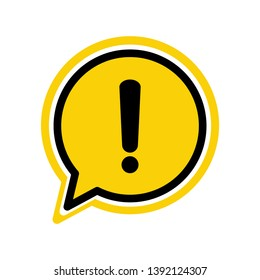 Black hazard warning attention sign or exclamation symbol in a yellow speech bubble icon vector illustration isolated flat style on white background