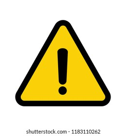 Black hazard warning icon. Danger warning attention symbol, caution sign in yellow triangle isolated vector illustration flat style on white background