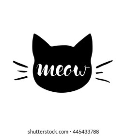 Black head of Cat with hand lettering word 'Meow' on white background. Vector illustration. Cute icon. Animal silhouette.