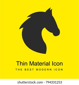 Black head horse side view with horsehair bright yellow material minimal icon or logo design