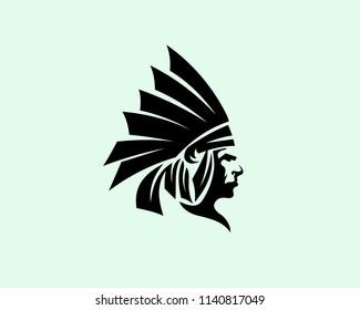 black head indian art logo