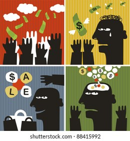 Black head man #5. Vector illustration about money.