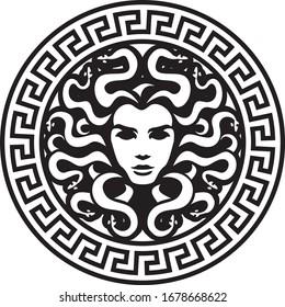 black head medusa circle logo