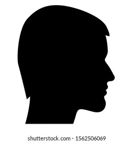 Black head silhouette of man with hair isolated on white background. Vector stock illustration.
