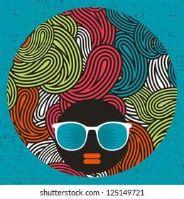 Black head woman with strange pattern hair. Vector illustration.