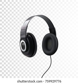 Black headphones. 3d realistic vector illustration of earphones isolated on white. Technology device for listening music. Dj equipment mockup. Audio gadget