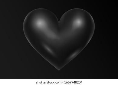 Black heart background. Minimalistic style. Total black. Valentine's day background.