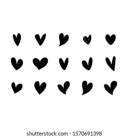 Black heart collection icon, love symbol, isolated on white, vector