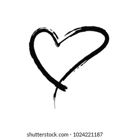 The black heart is painted by hand. Handwritten text. Background for T-shirts.