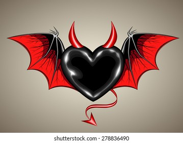 black heart with vampire wings and horn