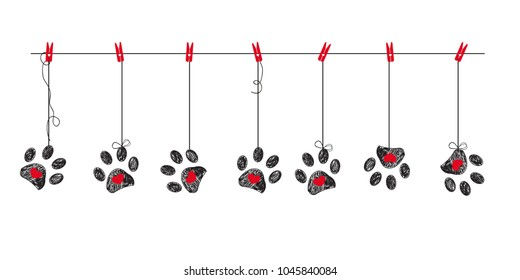 Black hearts with red hearts paw prints. Happy Valentine's day greeting card