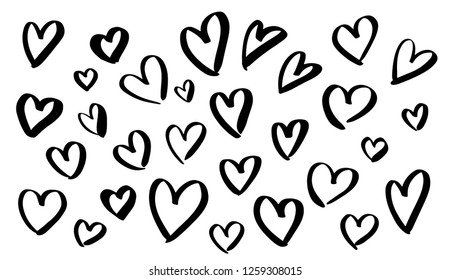 Black hearts shapes silhouettes in marker or paint stroke style, vector elements set isolated on white background
