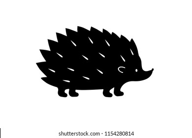 Black Hedgehog silhouette. Vector shadow. Laser cutting path