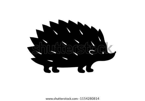 Silhueta de ouriço preto. Sombra vetorial. Caminho de corte a laser