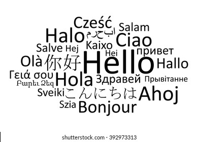 Black hello in different languages vector