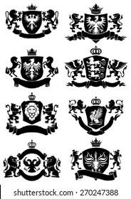 Black heraldic banner collection