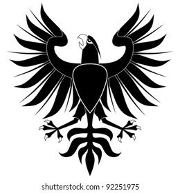 Black heraldic eagle with shield on white background