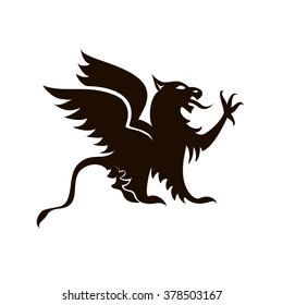 Black heraldic griffin on white background vector