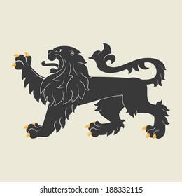 Black heraldic lion. Vector illustration