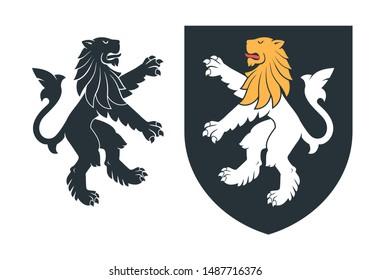 Black heraldic rampant lion on the white background. Vector illustration