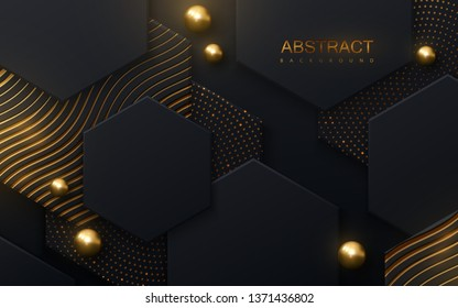 Black hexagon tiles textured with golden shiny patterns. Modern cover design. Vector illustration. Ad banner. Abstract background. Minimal composition with hex tiles and spheres. Layout design