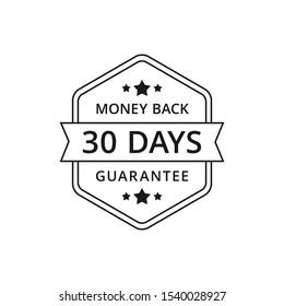 Black hexagonal 30 Days Money Back Guarantee (editable color).