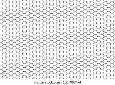 Black hexagonal cells seamless texture. Honeyed cell grid texture and geometric hive honeycombs. Abstract vector illustration.